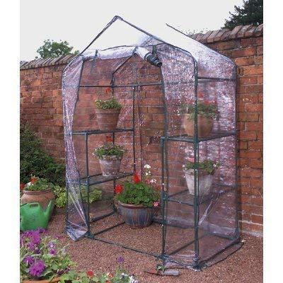 Gewächshaus für Garten / Terasse, begehbar, 4Ablageflächen, für Pflanzen und Gemüse