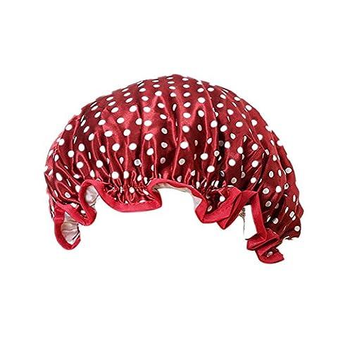 TININNA Mode Femmes Polka Dots Bonnet De Douche Elastic Band Shower Cap Protection Soin Accessoire Cheveux Vin Rouge