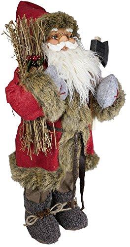 Christmas Paradise Weihnachtsmann Santa Nikolaus mit schönem Gesicht und Vielen Details/Größe ca.60cm/Roter Fellmantel, Rote Fellmütze, Braune Hose, Graue Stiefel, Trendyshop365