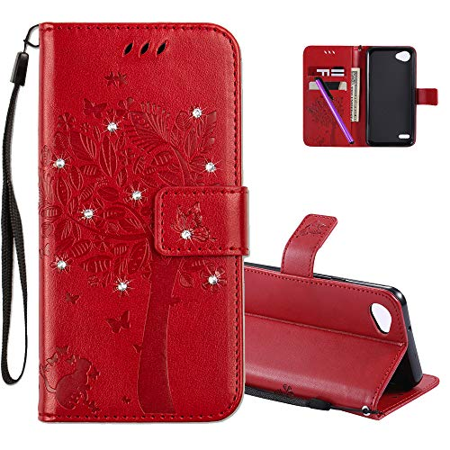 COTDINFOR LG Q6 Hülle für Mädchen Elegant Retro Premium PU Lederhülle Handy Tasche mit Magnet Standfunktion Schutz Etui für LG Q6 / G6 Mini Red Wishing Tree with Diamond KT.