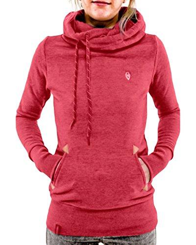 StyleDome Women's Casual Long Sleeve High Necked Hoodie Sweatshirt Pullover Jumper Hooded Coat Tops Jacket