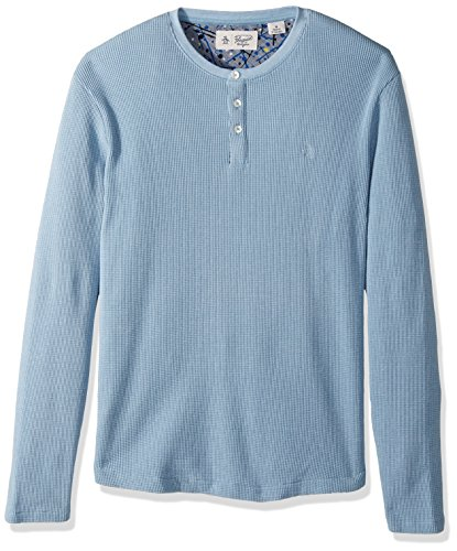 Original Penguin Men's Long Sleeve Heathered Waffle Henley Shirt
