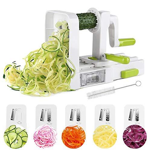 Cortador de Verduras Espiral ,Cortador Espiral 5 en 1 Doblado Espiralizador Cepillo de Limpieza Verduras en Espiral Juliana, Espaguetis, Tallarines, Cintas