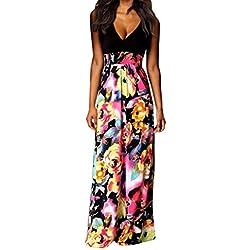 Vestidos Mujer Verano 2018,Mujer Bohemia Maxi verano playa larga cóctel fiesta vestido floral LMMVP (M, A)