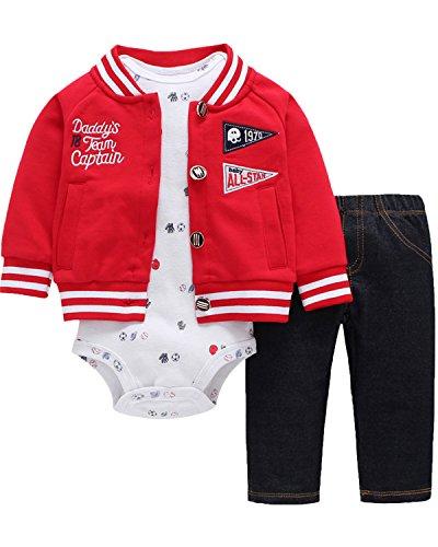 Outfit Set Body Romper Baumwolle Bodysuit 3 Pack Hoodie Hosen Jacke Jumpsuit Red 6M (Weihnachten Baby Outfits)