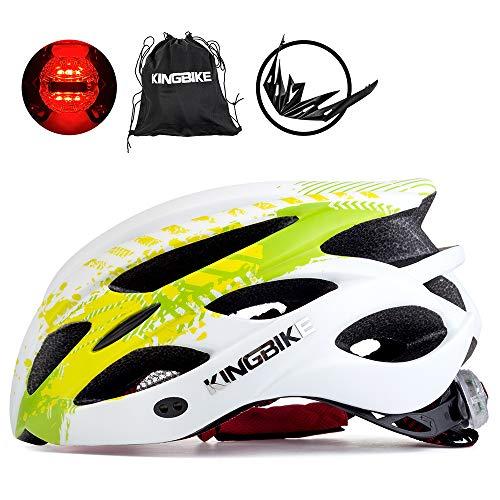 KING BIKE Fahrradhelm Helm Bike Fahrrad Radhelm mit LED Licht FüR Herren Damen Helmet Auf Die Helme Sportartikel Fahrradhelme GmbH RennräDer Mountain Schale Mountainbike MTB (Grün Weiß, L(56-60CM))