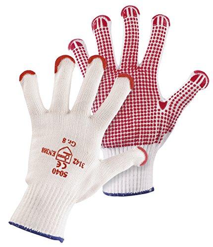 Jah 5040 Baumwolle/Nylon Strickhandschuh 12 Paar Noppen schwer weiß Gr. 10