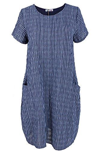 Baumwollkleid längs gestreift leichte O-form Sommerkleid knielang Nachtblau 42-44 (Italienische Baumwolle Streifen)