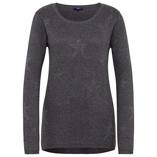 TOM TAILOR Damen Pullover Star Intarsia Sweater alloy grey melange