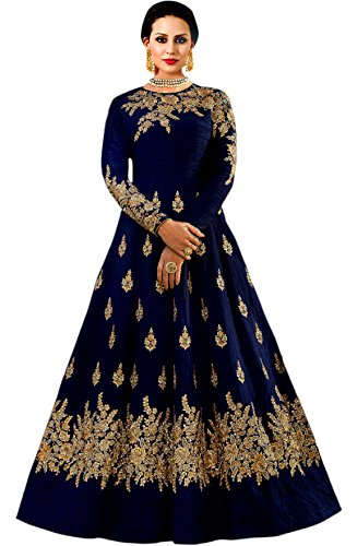 Shree Impex Taffeta Silk Embroidered Semi-stitched Gown(bukey_gown_navy blue, Free Size)