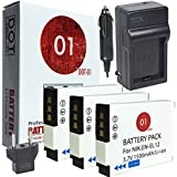 DOT-01 3x Batteries And Charger For Nikon Coolpix W300 Waterproof Camera And Nikon W300 Battery And Charger Bundle For Nikon ENEL12 EN-EL12
