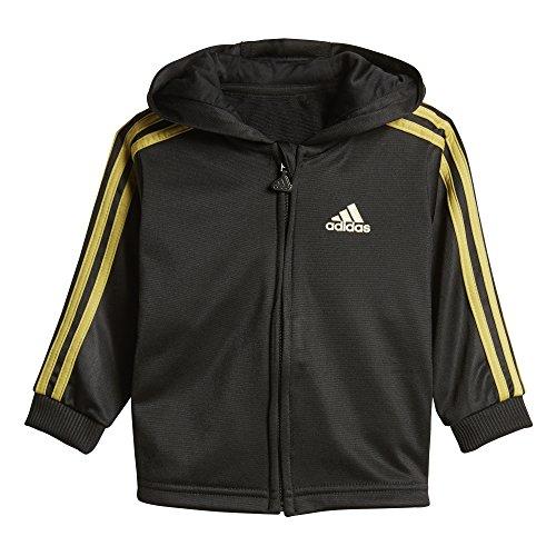 adidas Kinder Shiny Jogginganzug mit Kapuze Trainingsanzug, Black/Goldmt, 98