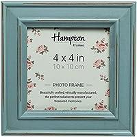 Hampton Frames, PAL301944B Paloma - Cornice quadrata per foto, 10 x 10 cm, finitura in legno invecchiato, colore: Blu, chiusura con clip girevole nera sul retro, confezionata individualmente