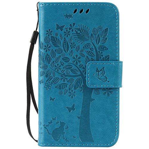 Nancen Motorola Moto G4/G4Plus (5.5Zoll) Schutzhülle, gute Qualität PU Leder Brieftasche und Card Slot Schutzhülle aus Flip Cover/kratzfest Smart Case. Zehn Solide Farben [Katze und Baum Stilvolles Design]
