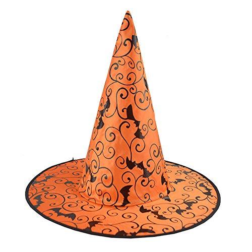 SuperSU 1Pcs Bat Erwachsenen Womens Hexenhut für Halloween Kostüm Zubehör pinnennetz Hexenhut Zauberer Hut Halloween Kostüm für Kinder Erwachsene Hexe Hut für Halloween Kostüm Zusatz Party Hut (D)