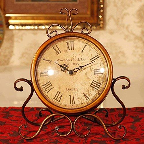 XIN Tischuhr American Retro Eisen Uhr Einrichtungs Kreative Home Wohnzimmer Schreibtisch Tischuhr...