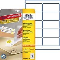 Avery España L4744REV-25 - Pack de 25 hojas de etiquetas removibles, 99.1 x 57 mm, color blanco