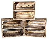 Vintage-Möbel24 GmbH 3er Set GEFLAMMTE KISTEN FÜR Schuh-und Bücherregal 50X40X30CM, Obstkiste,Apfelkiste,Holzkiste,Kiste,Regal,Holzregal,Shcuhregal