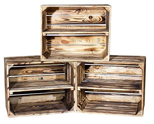 3er Set kleine geflammte Kiste für Schuhregal und Bücherregal - Obstkiste flambiert mit...