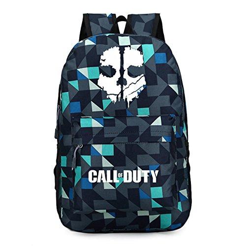 AUGYUESS Luminous Call of Duty Cosplay Schultasche Daypack Rucksack Schultertasche Schultasche Rucksack Medium Grid Blue 1