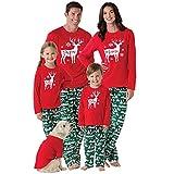 Janly Weihnachten Mama & Papa & ich Langarm-Deer Print Sweatshirt Familie Pullover Tops Eltern-Kind Tragen Papa Elch Pullover Oben (M, Rot)