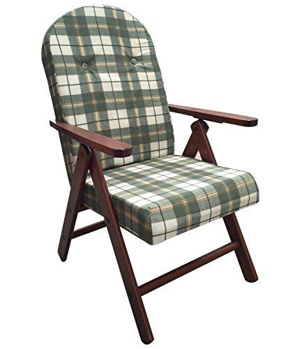 Poltrona sedia sdraio amalfi in legno reclinabile 4 posizioni cuscino imbottito h 105 cm soggiorno cucina salone divano (verde quadri)