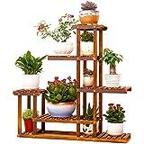 Estante de madera de 5 niveles Soporte de la planta Soporte del cuarto de baño Soporte del macetero del jardín para el interior y al aire libre
