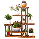 Outdoor Plant Stands MALAYAS Wooden Plant Flower Display Stand Wood Pot Shelf Storage Rack Outdoor Indoor 6 Pots Holder 96x95x25Cm