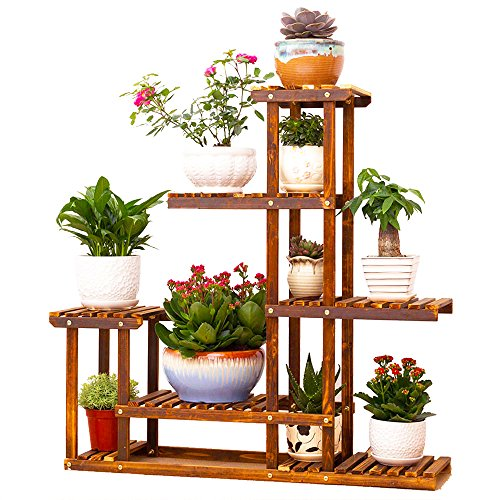 Malayas® Étagère de Fleur Bois Présentoire de Jardin Étagère de Rangement Intérieur ou Extérieur 6 Porte-Pots 96x95x25CM Flower Dsiplay Stand Wood Pot Shelf Storage Rack