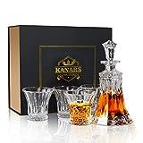 KANARS 5-teiliges Whisky Karaffe Set, WD06 Whiskey Dekanter Set, 550ml Karaffe mit 4×300ml Gläsern, Kristallglas Whiskybecher, Hochwertige Qualität, Geschenkbox