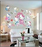 Children Wall Stickers Hello Kitty Girls Bedroom Decoration Art Decal