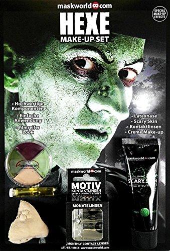 t Hexe - Halloween Schminke Komplett-Set mit Kontaktlinsen (Scary Kontaktlinsen Für Halloween)