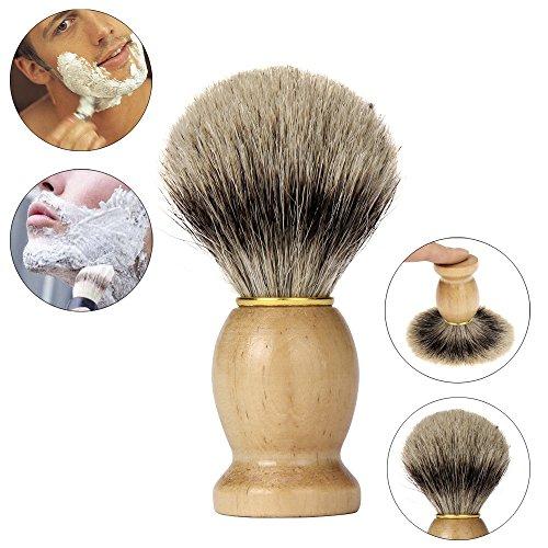 Yogogo Meilleurs Blaireau Rasage Brosse à Cheveux Hommes Pro Raser Barber Salon Bois Gérer Poils de Blaireau Jaune