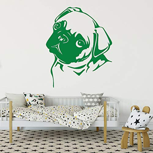 guijiumai Vinyl Wandbild Für Wohnzimmer Wand Poster Lustige Und Nette Mops Hause Aufkleber Dekoration Tür Aufkleber L 6 42x51 cm
