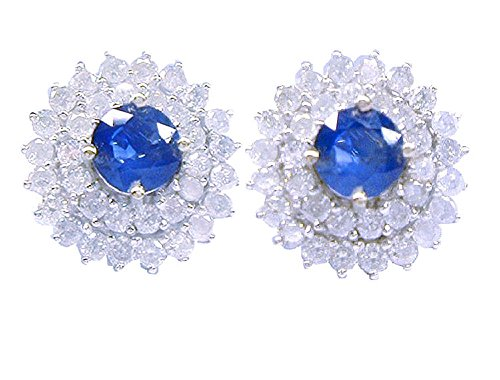 5.60ct Ceylon Zaffiro e Diamante Orecchini In Oro Bianco 14K - Ceylon Sapphire