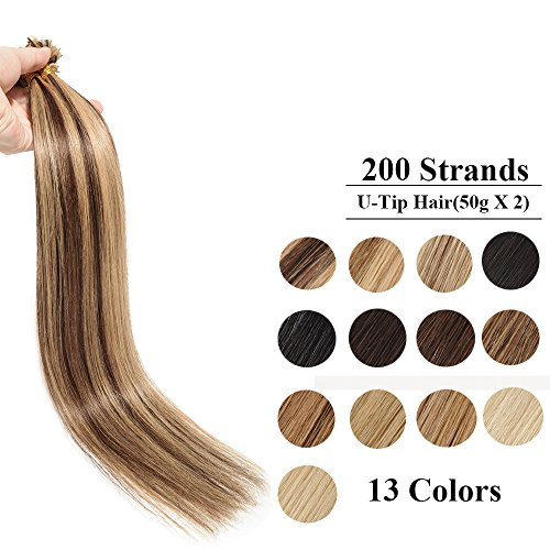 200 ciocche extension capelli veri cheratina 100g u tip hair extension 0.5g/ciocca 100% remy human hair (22