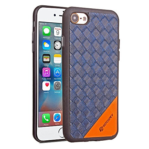 Frosted Weaving Texture Back Cover Soft Ultra Thin Slim Shell Cover Case mit Galvanisierungsknopf für iPhone 7 ( Color : Black ) Blue