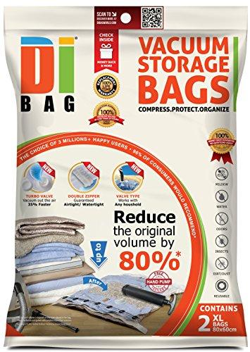 DIBAG - Vakuumbeutel - Vakuum Aufbewahrungsbeutel - 2 Vakuum Kleiderbeutel - Beutelgröße: 80x60 cm - Kompressionsbeutel zur Aufbewahrung von Kleidung , Bettdecken , Reise , Bettwäsche , Kissen -