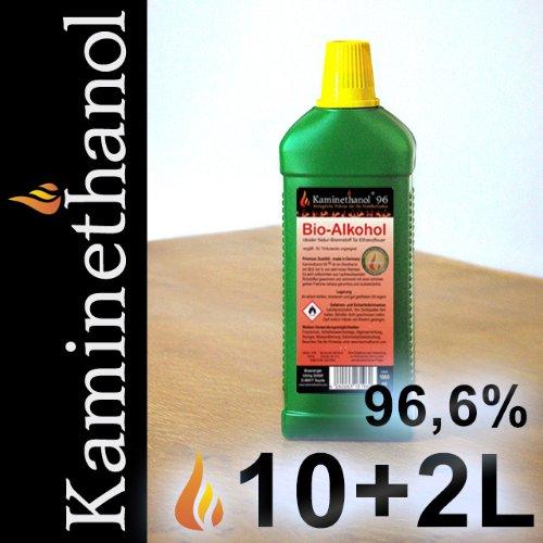 12 x 1 L Flaschen Bioethanol 96,6%, Bio Alkohol 10 + 2 Liter Brennstoff Kamin