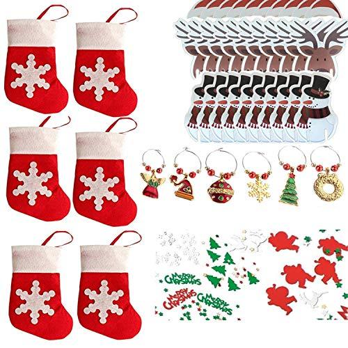 Cosoro decorazioni per la tavola di natale kits-30 decorazioni di natale in vetro divertenti, 6 stoviglie per posate calzino per posate, 6 segnaposto in vetro per vino, confetti natalizi 1 confezione