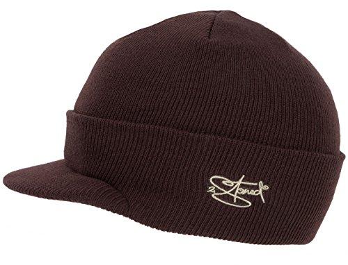 2Stoned Mütze mit Schirm Visor Beanie Cap Deluxe, One-Size Damen und Herren, Braun -