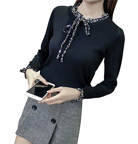 Brinny Femme nouvelle Chandail style coréen manches trompette et col montant-Taille unique Noir