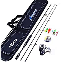 Pêche Rod Et Reel Combo Full Kit Spinning Fishing Reel Gear Line Lures Hooks And Bag
