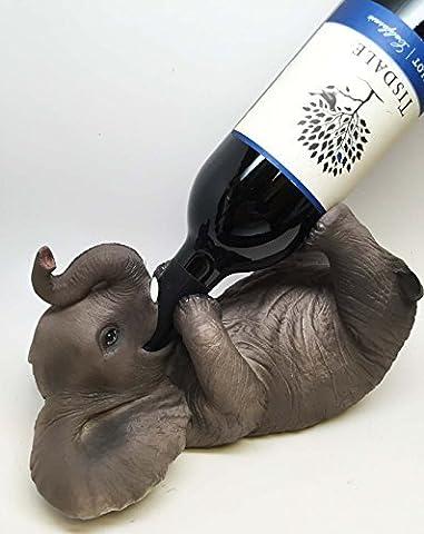 KITCHEN DECOR GIFT PLAYFUL SAFARI ELEPHANT OIL WINE BOTTLE HOLDER FIGURINE STATUE by ATL