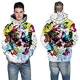 TING Mariposa Calavera 3D Impresion Digital Hooded Sweater el otoño y el Invierno de los Hombres de Gran tamaño Sportswear,5XL.