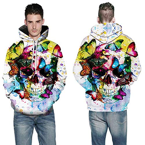 TING Butterfly Skull 3D digital Printing Hooded Sweater Autumn and Winter Men's Large Size Sportswear,m -