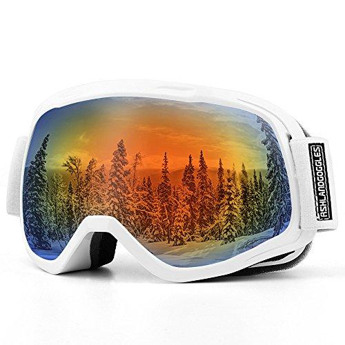 AKASO Skibrille Kinder Skibrille Snowboardbrille für Jungen Mädchen 8-16 Jahre alt mit Frame/Rahmen Anti-Fog/Nebel, 100% UV-Schutz, Helmkompatible Ski Goggles -