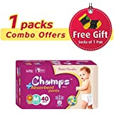 Champs High Absorbent Premium Pant Style Diaper (Pack Of 1)(Free 1-Pair Socks) | Premium Pant Diapers | Premium Diapers | Premium Baby Diapers | Anti-rash And Anti-bacterial Diaper | … (Medium, 40)