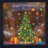 TT&CC Weihnachten Dekoration Aufkleber, Kein leim hausbar Weihnachten Schneeflocke Baum esszimmerfenster klammert Sich Dekorationen Weihnachten wandtattoo-A 62x72cm(24x28inch)