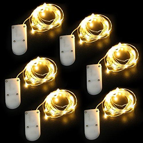 + [9 Pezzi]KingTop Luci Led Micro 2M 20 Leds Con Filo Di Argento Impermeabile Luci Led Natale Bianco Caldo Con Batteria Luci Stringa Per Interno e Esterno miglior prezzo